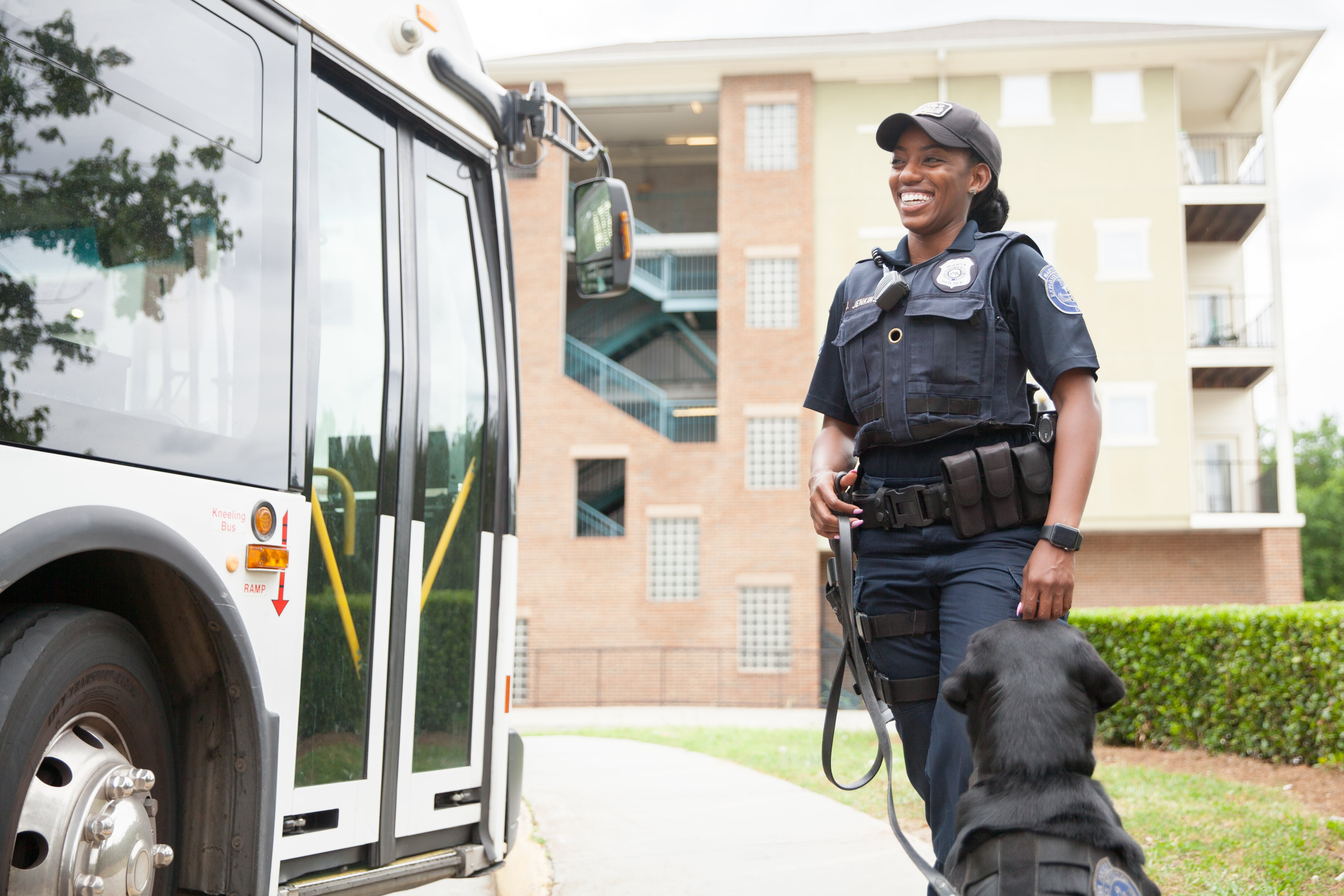 MARTA Police female police officer with k9